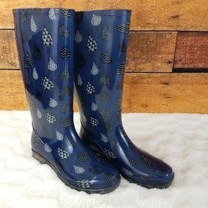 Toms Cabrilla Rain boots Blue Raindrops Size 6